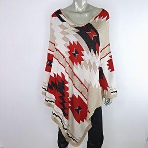 Boston Proper Southwestern Poncho Sweater M/L